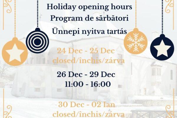 Programul de vizitare a muzeului în perioada sărbătorilor de iarnă
